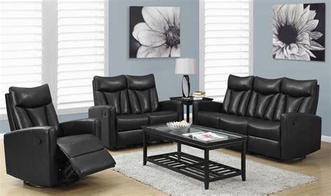 Black Leather Living Room Sets 87bk 3 Black Bonded Leather Reclining Living Room Set 87bk 3 Monarch