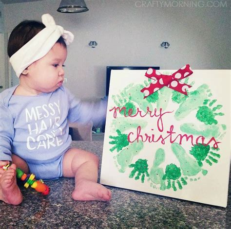 hands on crafts for christmas in the morning handprint footprint wreath craft crafty morning