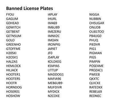 ohio s banned vanity license plates list www