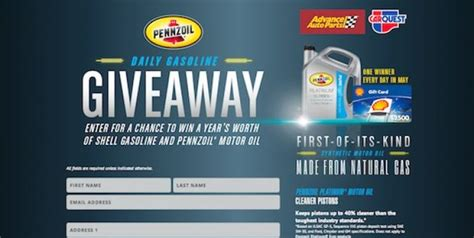 Advance Auto Sweepstakes - pennzoil com dailygasgiveaway pennzoil advance auto parts free gasoline sweepstakes