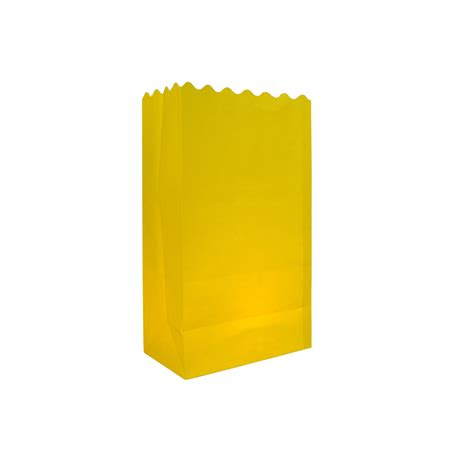 yellow solid color luminarias paper craft bag 10 pack