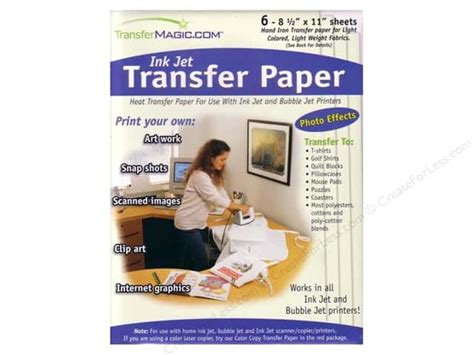 write on paper transfer to computer transfermagic ink jet transfer paper 6 pc createforless