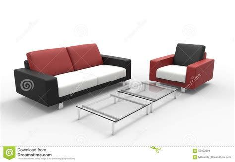 coffee sofa red black and white sofa with coffee table stock image