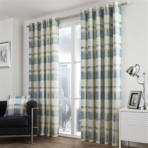 blue cream striped curtains check striped grommet lined 2 eyelet curtain panels red