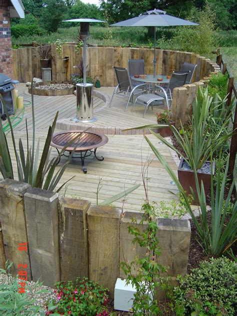 Wickes Railway Sleepers by Vertical Sleeper Walls Use To Screen End Of Garden