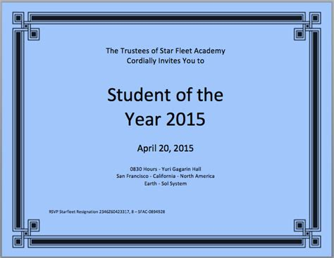student of the year certificate template microsoft word