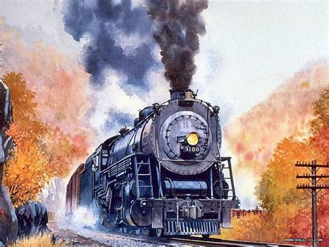 painting trains engine in this watercolor painting trains and