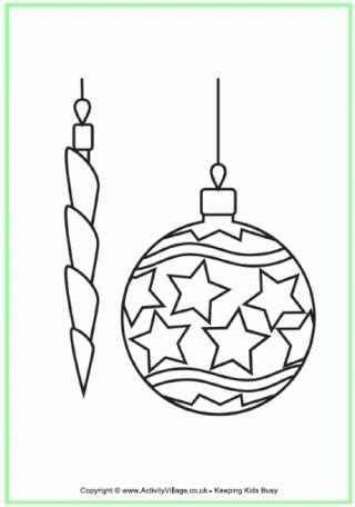 Christmas Bauble Colouring Page Baubles Templates To Colour