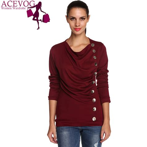 Branded Baju H Button Blouse acevog brand sleeve autumn winter t shirt tops sale solid fashion button