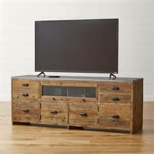 brown and gray reclaimed wood media console