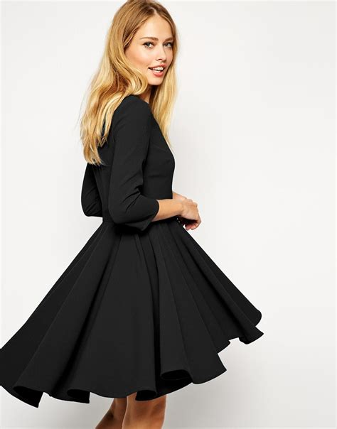 Skirted Dresses by Lyst Asos Skater Dress With Dipped Hem Skirt And 3