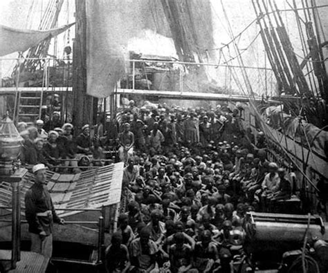 slave boat rescued slaves crowd the deck of the hms daphne 1868