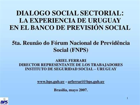 prstamos sociales bps banco de previsin social ppt dialogo social sectorial la experiencia de uruguay