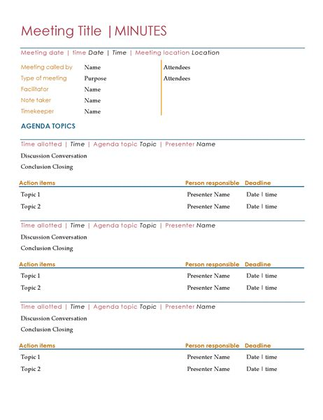 Meetings Minutes Template by Meeting Minutes