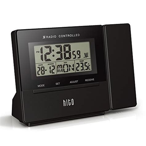 163 25 99 33 hito atomic radio controlled projection alarm clock date temperature week alarm