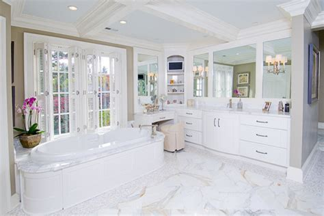 Glass Block Bathroom Designs White Off White Bathroom Cabinetry Traditional