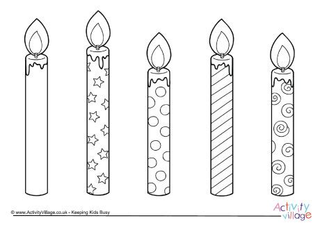birthday candles colouring page 2