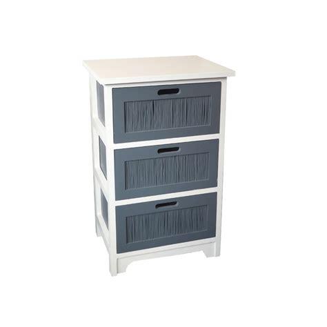 meuble bois 3 tiroirs blanc et gris