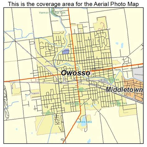 owosso mi map aerial photography map of owosso mi michigan