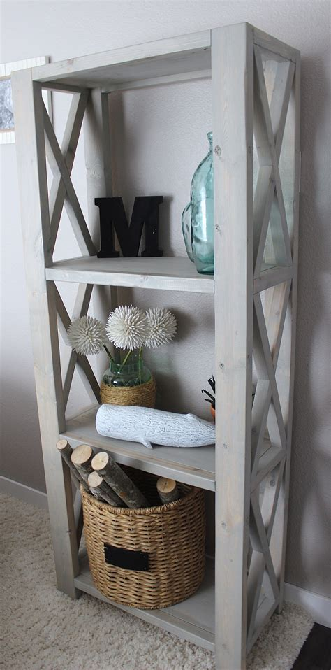 ana white rustic triple  bookshelf diy projects