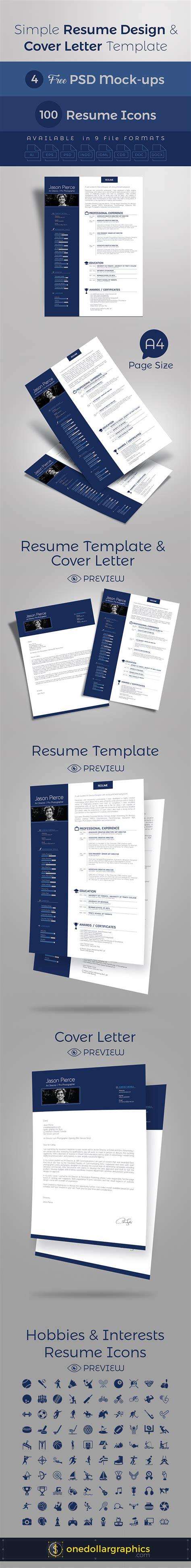 simple resume template psd simple resume cv design cover letter template 4 psd