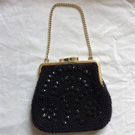 beaded evening bag vintage black flower beaded evening bag by iamia