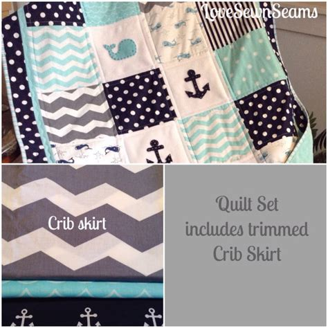 Navy Crib Quilt by Nautical Quilt Crib Skirt Quilt In Aqua Navy Gray