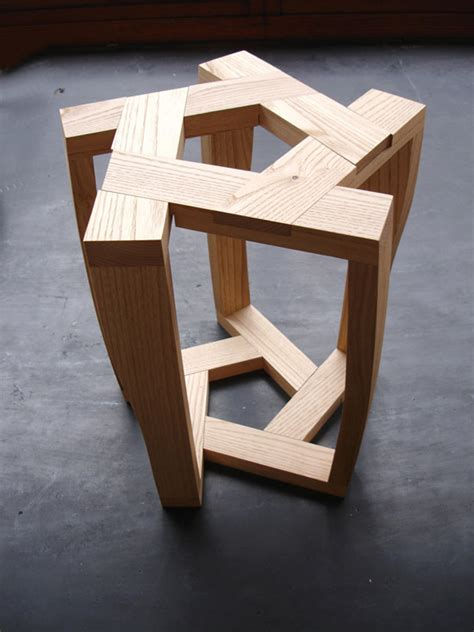 small wooden stool table itamar burstein pentagon table and stools