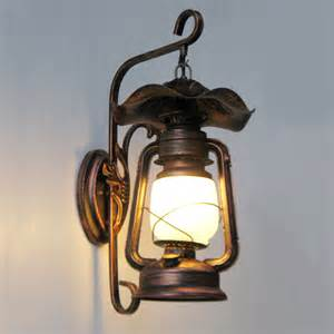 Lantern Wall Sconce Retro Nostalgia American Country Antique Shop Lighting Aisle Stairs Corridor Wall L Wrought