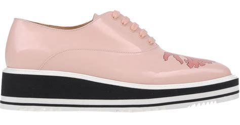 prada lace up shoes in pink save 55 lyst