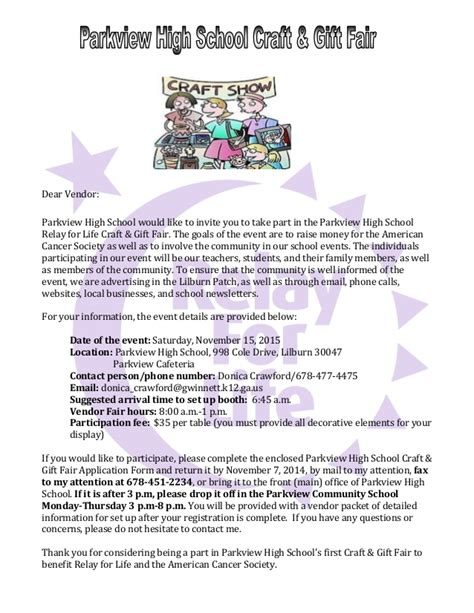 Thank You Letter Vendor Participation 2014 Phs Rfl Vendor Letter
