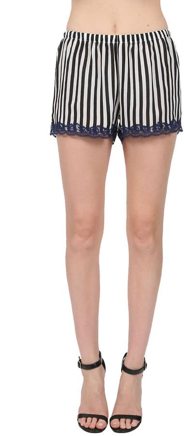 black and white patterned shorts outfit gold hawk stripe lace shorts in blackink blue where to
