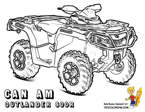 ATV Coloring Pages Free 4 Wheeler Quads sketch template