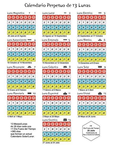 almanaque o calendario perpetuo con las fases lunares y share the calendario sincronario de 13 lunas 28 d 237 as por la paz