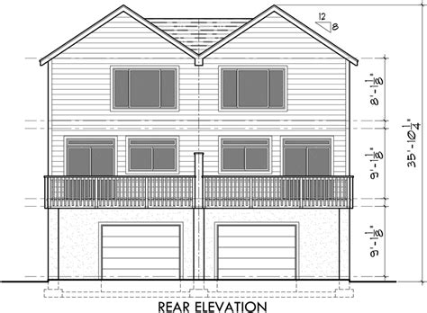 Side By Side House Plans by Duplex House Plans D 522 Sloping Lot Plans View Deck