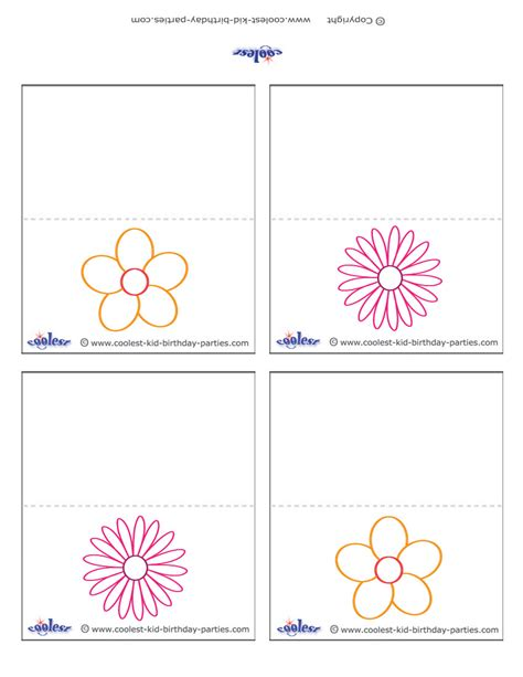 printable flower placecards