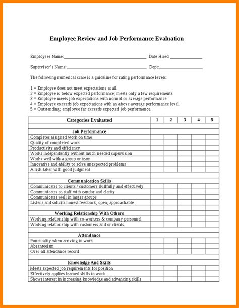 staff evaluation form template 7 performance employee evaluation template farmer