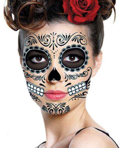 tattoo costume ideas amazon com black skeleton day of the dead temporary face