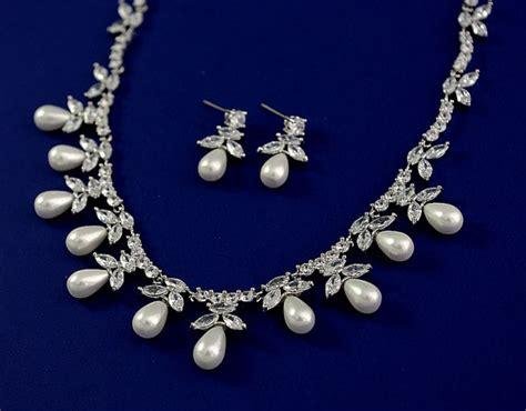 exquisite cubic zirconia jewelry set wedding pearl