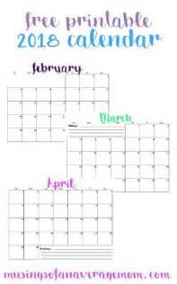 Calendar 2018 Things Free Printable 2018 Monthly Calendar All Things
