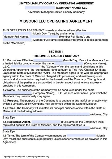 Missouri Multi Member Llc Operating Agreement Free Llc Operating Agreements Free Llc Missouri Llc Operating Agreement Template