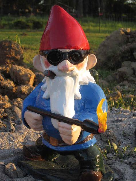 garden gnomes with guns when my brain leaks the drops drip here burn baby burn