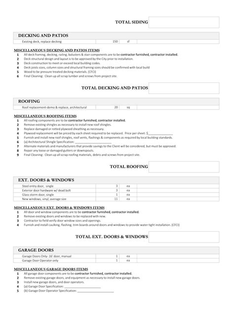Scope Of Work Report House Flipping Spreadsheet House Flipping Scope Of Work Template