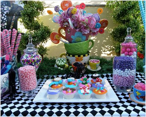 Alice In Wonderland Party Giveaways - alice in wonderland mad tea party candy buffet birthday party ideas photo 4 of 12
