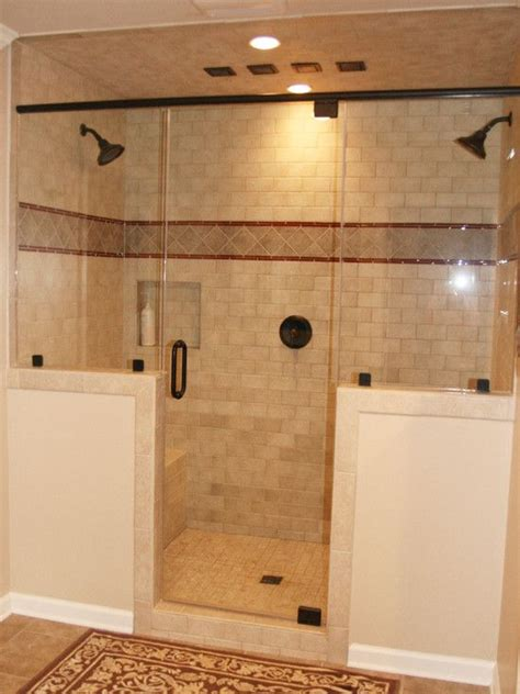 Two In One Shower by Half Wall And Two Shower Heads Decorating