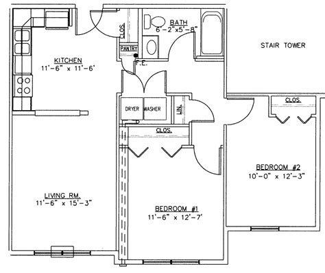 Two Bedroom Floor Plan by 2 Bedroom Floor Plans 30x30 2 Bedroom House Floor Plans