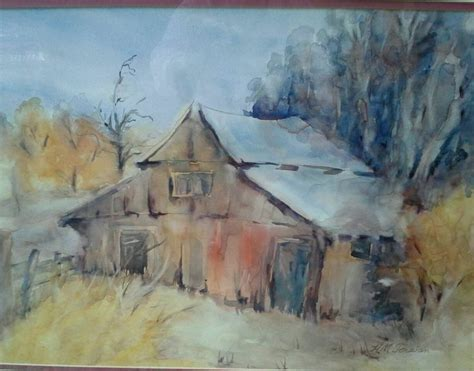 watercolor tutorial buildings vintage watercolor old barn in central valley ca signed by