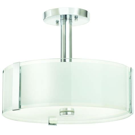 Home Decorating Collection by Home Decorators Collection Bourland 14 In 3 Light Polished Chrome Semi Flushmount With Glass