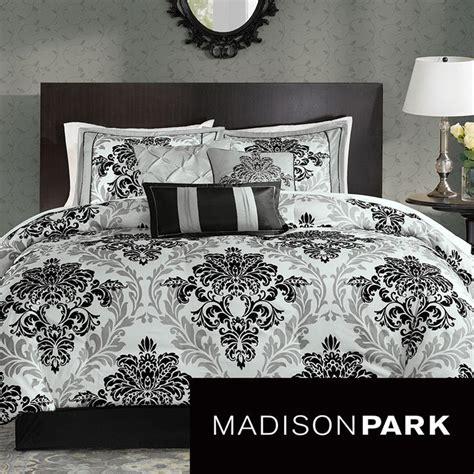 black and white damask comforter set madison park larissa 7 piece comforter set