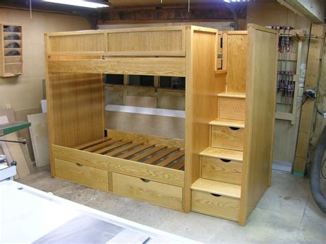 bunk bed woodworking plans bunk beds with stairs by dshute lumberjocks